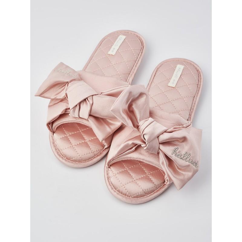 Тапочки «Атласные бантики» розовые