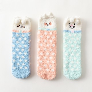 Набор мягких носков «Горошки» с помпонами, 3 пары