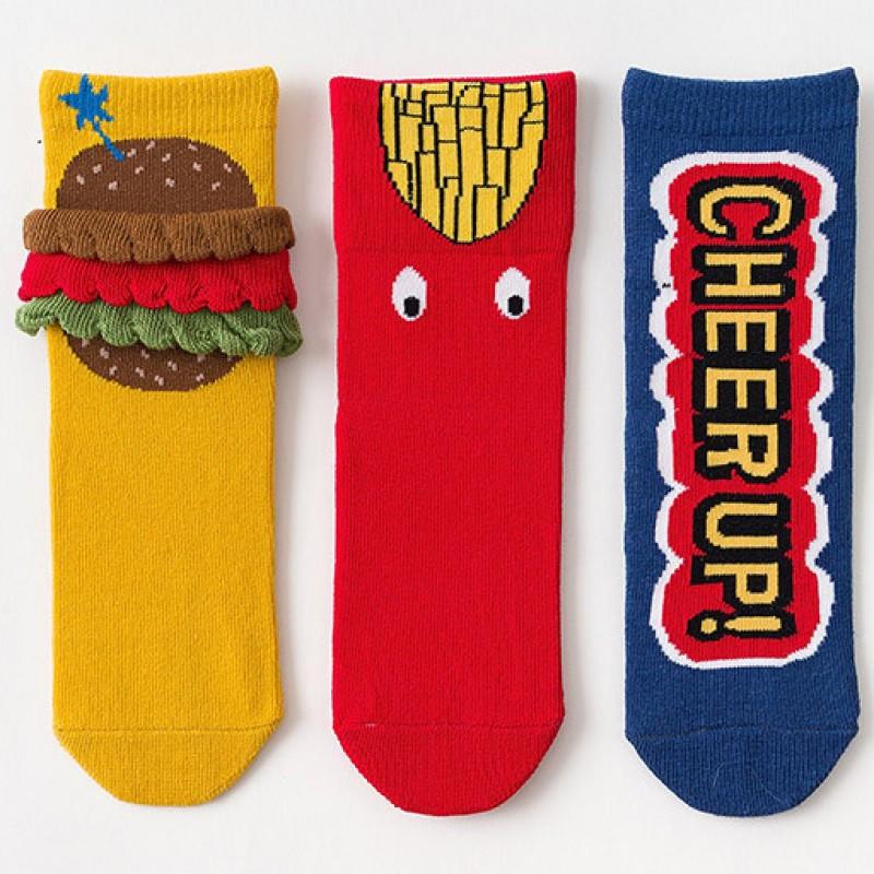 Набор детских носков «Фаст фуд» в мягкой упаковке, 3 пары