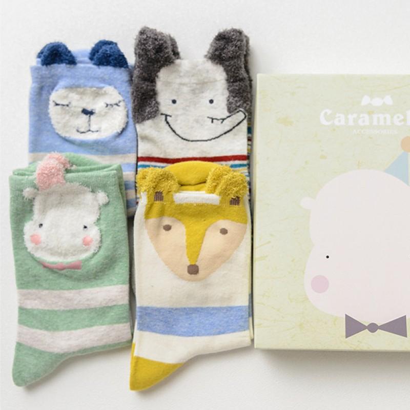 Набор носков «Лисичка и друзья», 4 пары